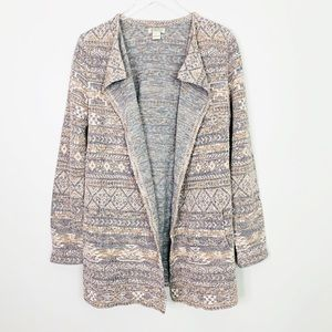 LUCKY BRAND Aztec Tribal Print Cardigan L Duster